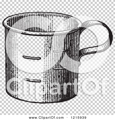 Vintage Clipart of a Retro Metal Measuring Cup in Black and White ...
